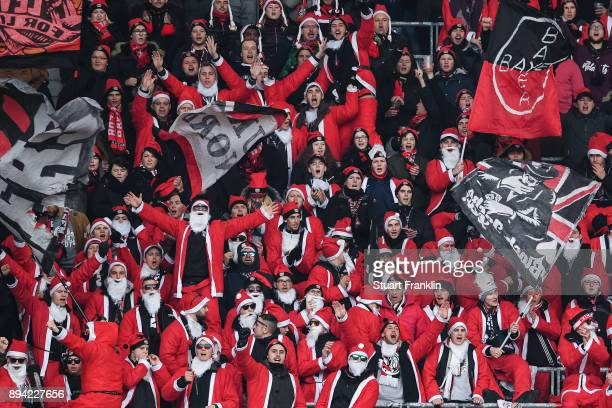 Fans of Leverkusen prior the Bundesliga match between Hannover 96 and Bayer 04 Leverkusen at HDIArena on December 17 2017 in Hanover Germany