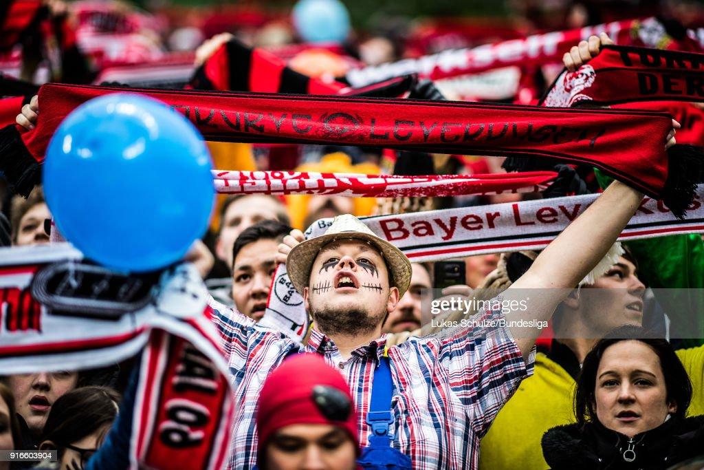 Fans of Leverkusen wear costumes prior to the Bundesliga match between Bayer 04 Leverkusen and Hertha BSC at BayArena on February 10, 2018 in Leverkusen, Germany.