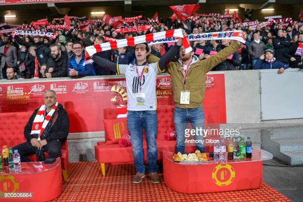 Fans of Lille during the Ligue 1 match between Lille OSC and Olympique Lyonnais at Stade Pierre Mauroy on February 18 2018 in Lille
