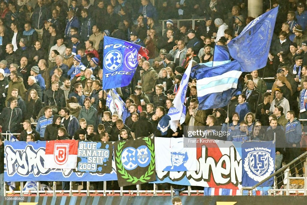 Fans Of Linz During The 2 Liga Match Between Fc Blau Weiss Linz V