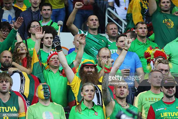 Fans of Lithuania cheer during the FIBA EuroBasket 2015 Group D basketball match between Lithuania and Ukraine at Arena Riga on September 5 2015 in...