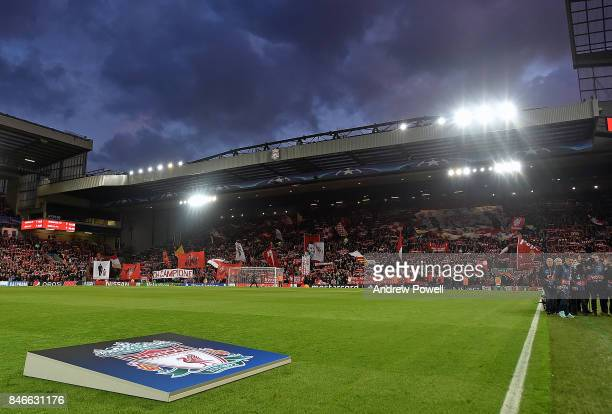 Fans of Liverpool before the UEFA Champions League group E match between Liverpool FC and Sevilla FC at Anfield on September 13 2017 in Liverpool...