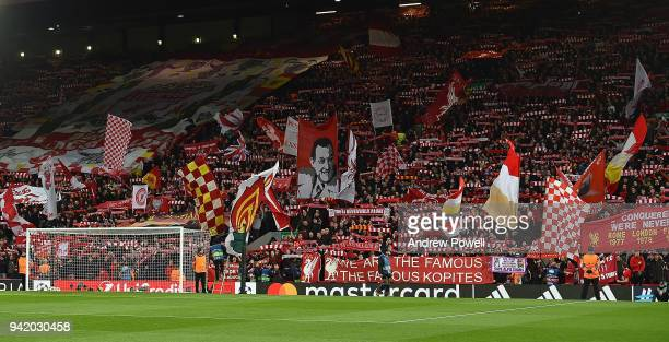 Fans of Liverpool before the UEFA Champions League Quarter Final Leg One match between Liverpool and Manchester City at Anfield on April 4 2018 in...