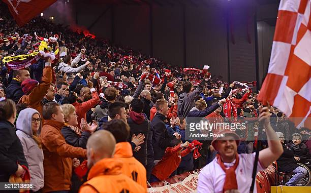 Fans of Liverpool celebrate during the UEFA Europa League Quarter Final Second Leg match between Liverpool and Borussia Dortmund at Anfield on April...