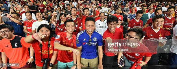 Fans of Liverpool during the Premier League Asia Trophy match between Liverpool FC and Leicester City FC at the Hong Kong Stadium on July 22 2017 in...
