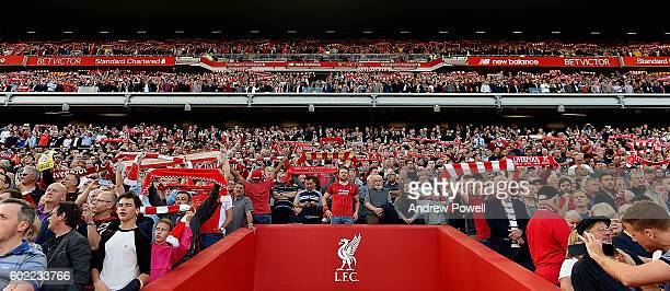 Fans of Liverpool during the Premier League match between Liverpool and Leicester City at Anfield on September 10 2016 in Liverpool England