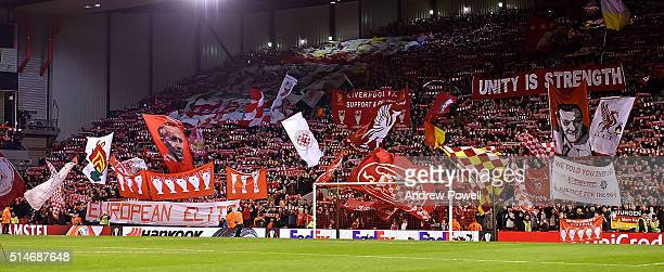 Fans of Liverpool during the UEFA Europa League Round of 16 first leg match between Liverpool and Manchester United on March 10 2016 in Liverpool...