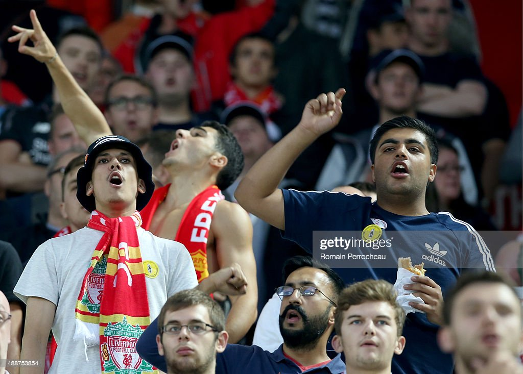 Fans of Liverpool FC during the Europa League game between FC Girondins de Bordeaux and Liverpool FC at Matmut Atlantique Stadium on September 17, 2015 in Bordeaux, France.