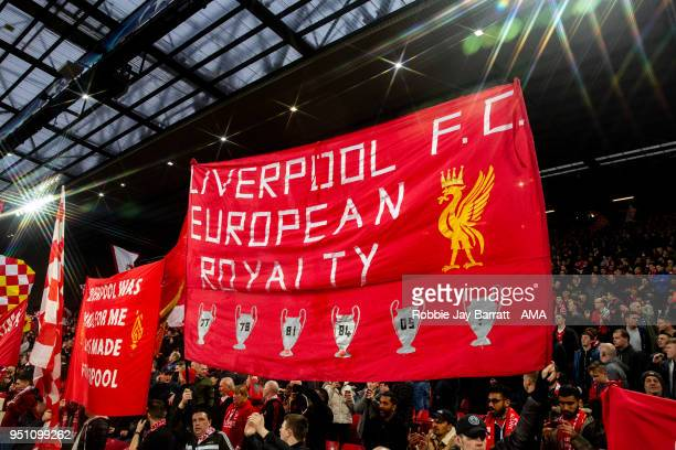 Fans of Liverpool hold up a banner during the UEFA Champions League Semi Final First Leg match between Liverpool and AS Roma at Anfield on April 24...