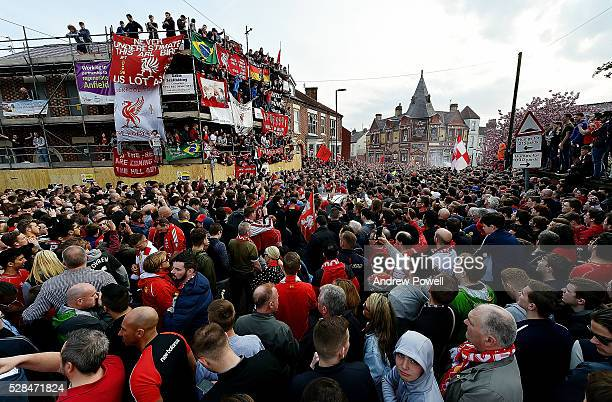 Fans of Liverpool wait for the team coaches to arrive before during the UEFA Europa League Semi Final Second Leg match between Liverpool and...
