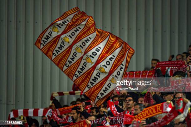Fans of Liverpool waving a flag during the UEFA Champions League group E match between Liverpool FC and RB Salzburg at Anfield on October 02 2019 in...