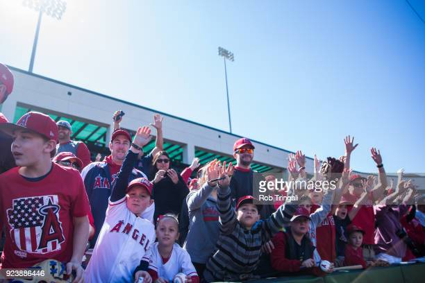 Fans of Los Angeles Angels of Anaheim cheer on their team before a Spring Training Game against the Milwaukee Brewers at Goodyear Ballpark on...
