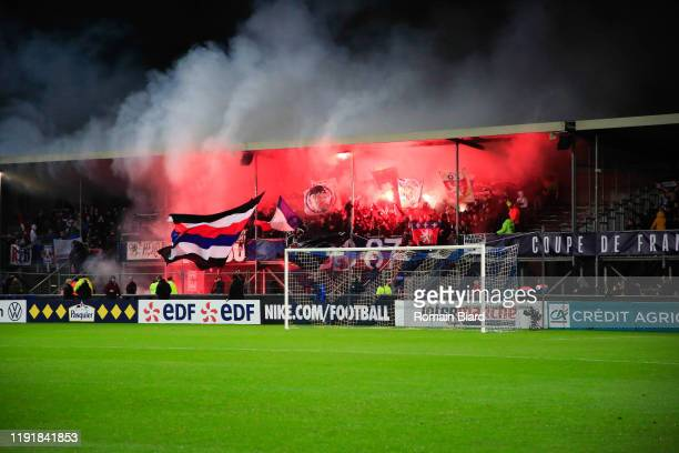 Fans of Lyon during the French Cup match between Bourg en Bresse and Lyon on January 4, 2020 in Bourg-en-Bresse, France.