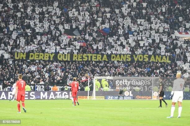 Fans of Lyon during the Ligue 1 match between Olympique Lyonnais and Montpellier Herault SC at Parc Olympique on November 19 2017 in Lyon