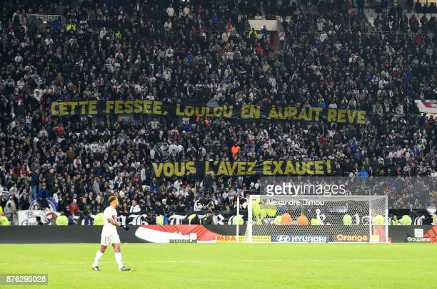 Fans of Lyon tribute to Louis Nicollin former President of Montpellier during the Ligue 1 match between Olympique Lyonnais and Montpellier Herault SC...