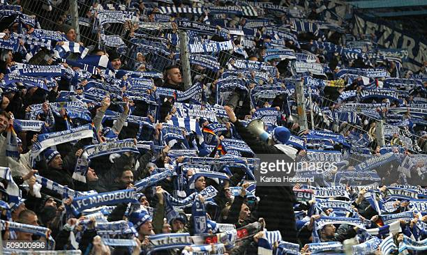 Fans of Magdeburg during the Third League match between Chemnitzer FC and 1FC Magdeburg at Stadion an der Gellertstrasse on February 05 2016 in...