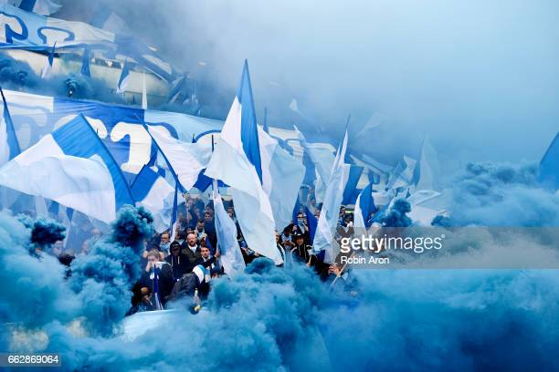 Fans of Malmo FF during the Allsvenskan match between IFK Goteborg and Malmo FF at Ullevi on April 1 2017 in Gothenburg Sweden