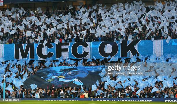 Fans of Manchester City show their support prior to the UEFA Champions League Quarter Final second leg match between Manchester City and Tottenham...