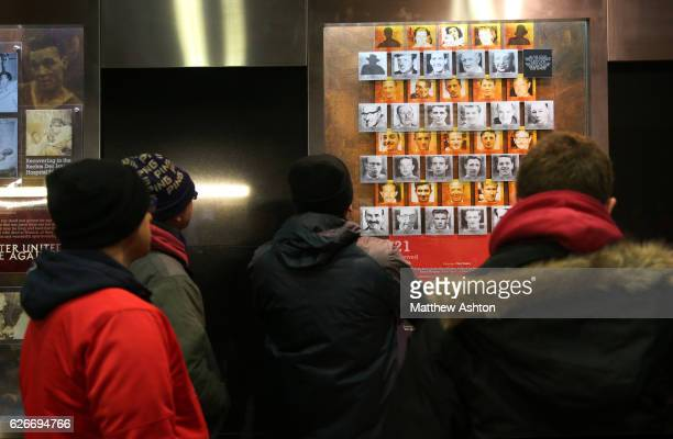 Fans of Manchester United remember the players who died in the Munich Air Disaster on February 6th 1958 by looking at the museum plaques in the...