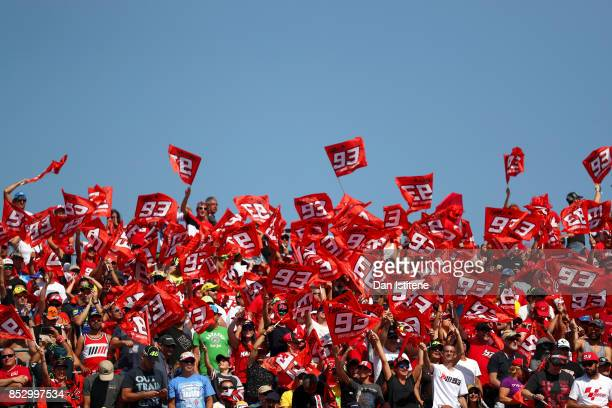 Fans of Marc Marquez of Spain and the Repsol Honda Team show their support during the MotoGP of Aragon at Motorland Aragon Circuit on September 24...