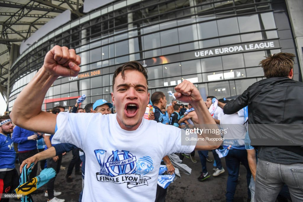 Fans of Marseille before the Europa League Final match between Marseille and Atletico Madrid at Groupama Stadium on May 16, 2018 in Lyon, France.