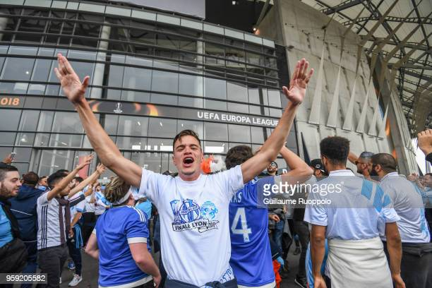Fans of Marseille before the Europa League Final match between Marseille and Atletico Madrid at Groupama Stadium on May 16 2018 in Lyon France