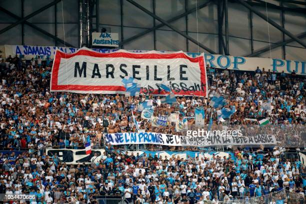 Fans of Marseille during the French Ligue 1 match between Marseille and Guingamp at Stade Velodrome on September 16 2018 in Marseille France