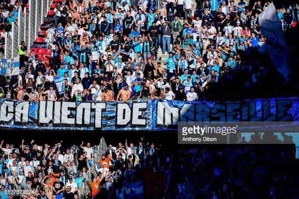 Fans of Marseille during the Ligue 1 match between Rennes and Marseille at Roazhon Park on February 24 2019 in Rennes France