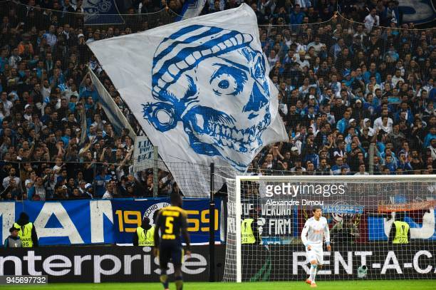 Fans of Marseille during the UEFA Europa League quarter final second leg match between Olympique Marseille and RB Leipzig at Stade Velodrome on April...