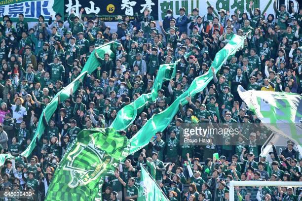 Fans of Matsumoto Yamaga cheer during the JLeague J2 match between Yokohama FC and Matsumoto Yamaga at Nippatsu Mitsuzawa Stadium on February 26 2017...