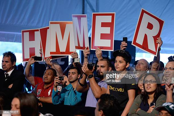 Fans of Matt Hamill cheer for the fighter during the UFC Fight Night: Maia v Shields weigh-in at the Ginasio Jose Correa on October 8, 2013 in...