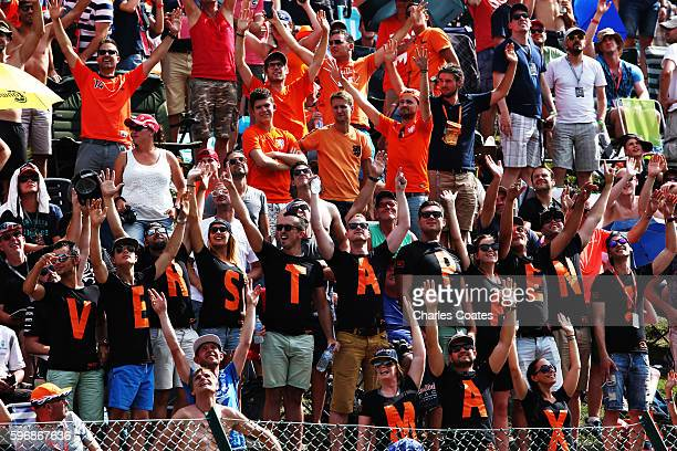 Fans of Max Verstappen of Netherlands and Red Bull Racing in a grandstand during the Formula One Grand Prix of Belgium at Circuit de SpaFrancorchamps...