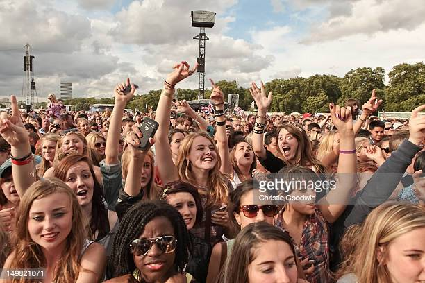 Fans of McFly during BT London Live at Hyde Park on August 4 2012 in London United Kingdom