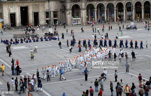 Fans of Metal Gear Solid 4 Guns of The Patriots Game during a Flash Mob in Piazza Duomo on June 3 2008 in Milan Italy
