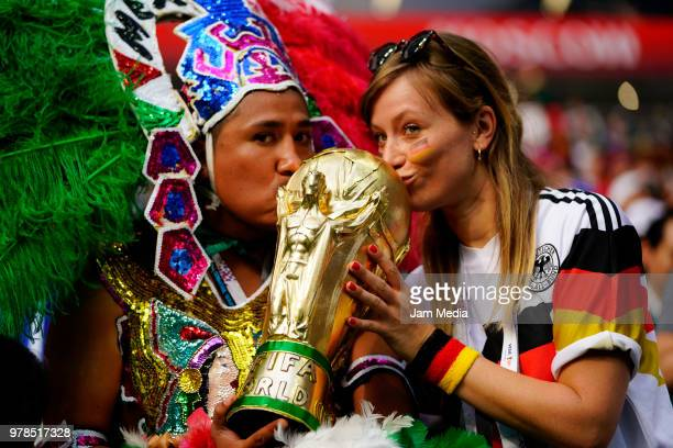 Fans of Mexico and Germany enjoy the atmosphere during the 2018 FIFA World Cup Russia group F match between Germany and Mexico at Luzhniki Stadium on...