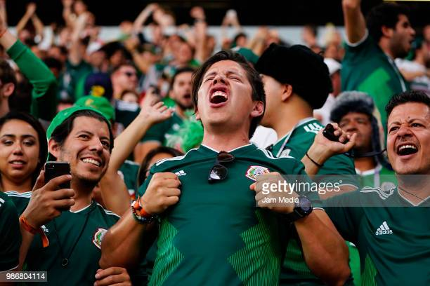 Fans of Mexico celebrate during the 2018 FIFA World Cup Russia group F match between Mexico and Sweden at Ekaterinburg Arena on June 27 2018 in...