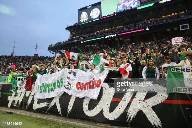 Fans of Mexico celebrate during the friendly match between Paraguay and Mexico at Levi's Stadium on March 26 2019 in Santa Clara California