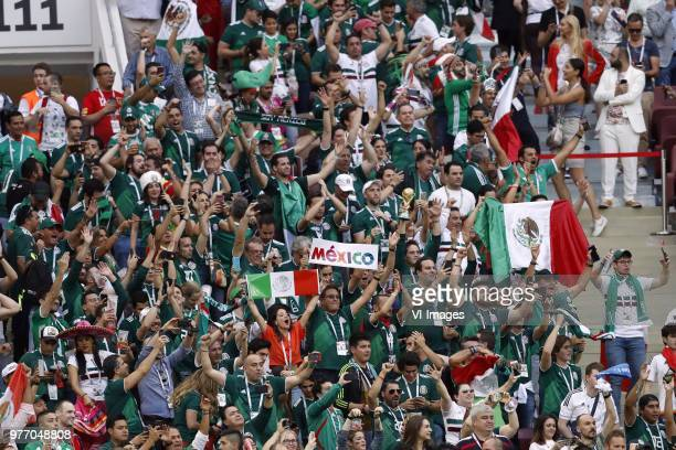 fans of mexico celebrating the victory during the 2018 FIFA World Cup Russia group F match between Germany and Mexico at the Luzhniki Stadium on June...