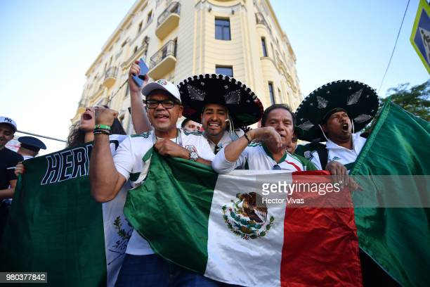 Fans of Mexico cheers during the arrival of Mexico at Mercure Hotel ahead of the match against Korea on June 21 2018 in RostovonDon Russia
