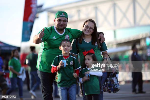 Fans of Mexico pose prior the friendly match between Mexico and Bosnia and Herzegovina at Alamodome Stadium on January 31 2017 in San Antonio Texas