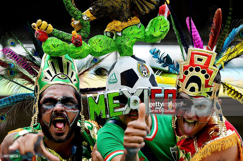 Fans of Mexico pose prior to the 2014 FIFA World Cup Brazil Group A match between Croatia and Mexico at Arena Pernambuco on June 23, 2014 in Recife, Brazil.