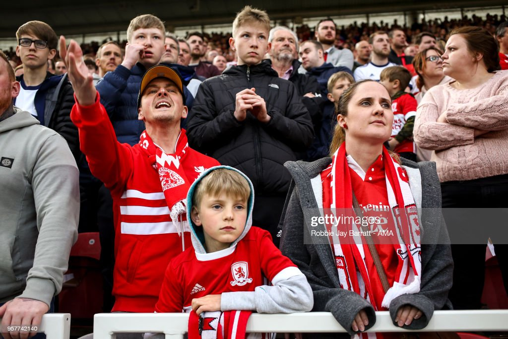 Fans of Middlesbrough look on during the Sky Bet Championship Play Off Semi Final First Leg match between Middlesbrough and Aston Villa at Riverside Stadium on May 12, 2018 in Middlesbrough, England.