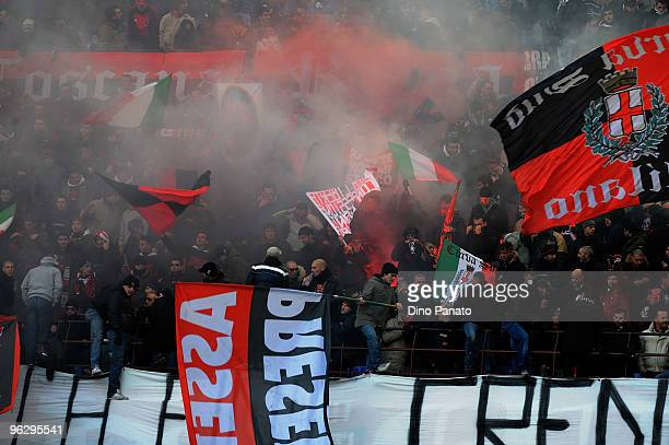 Fans of Milan during the Serie A match between AC Milan and Livorno at Stadio Giuseppe Meazza on January 31, 2010 in Milan, Italy.