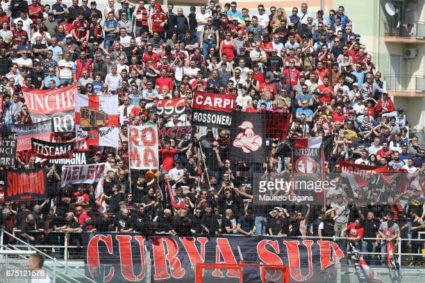 Fans of Milan during the Serie A match between FC Crotone and AC Milan at Stadio Comunale Ezio Scida on April 30, 2017 in Crotone, Italy.