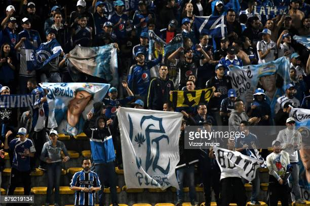 Fans of Millonarios cheer for their team during the first leg match for the quarterfinals of Aguila League II 2017 at Metropolitano de Techo Stadium...