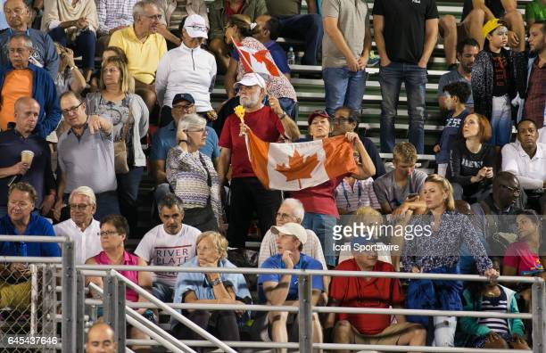 Fans of Milos Raonic show their support as he defeats Juan Martin del Potro during the Semifinals of the ATP Delray Beach Open on February 25 at the...