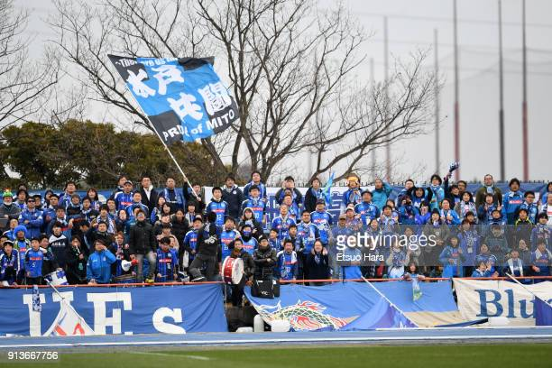 Fans of Mito Hollyhock cheer prior to the preseason friendly match between Mito HollyHock and Kashima Antlers at K's Denki Stadium on February 3 2018...