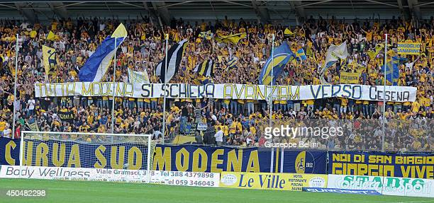 Fans of Modena during the Serie B playoff match between Modena FC and AC Spezia at Alberto Braglia Stadium on June 3, 2014 in Modena, Italy.
