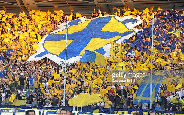 Fans of Modena during the Serie B playoff match between Modena FC and AC Cesena at Alberto Braglia Stadium on June 8, 2014 in Modena, Italy.