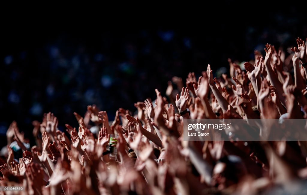 Fans of Moenchengladbach are seen during the Bundesliga match between Borussia Moenchengladbach and Sport-Club Freiburg at Borussia-Park on May 5, 2018 in Moenchengladbach, Germany.